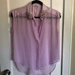 Embroidered Collar Button Up Purple Tank Top